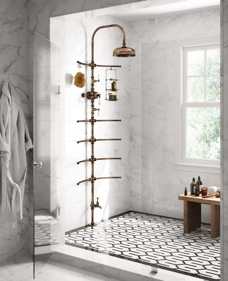 Cathpole & Rye Spine shower in aged brass