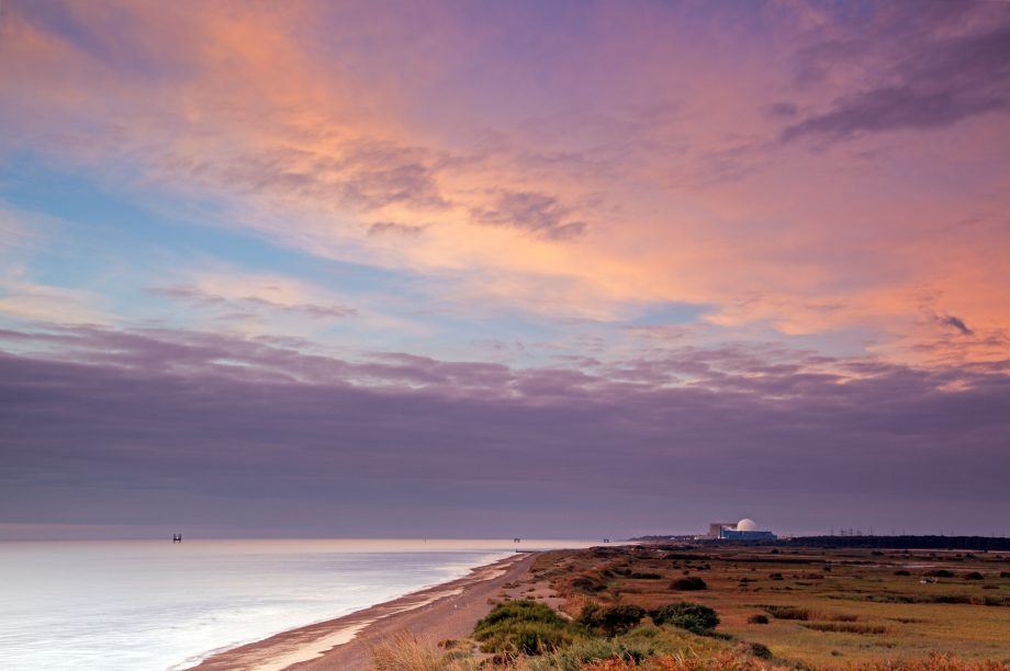 The view south from Dunwich Cliffs towards Sizewell B Nuclear Power Station.