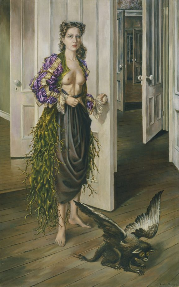 'Birthday' by Dorothea Tanning (1910 – 2012). Painted in 1942, oil on canvas, 1022 x 648 mm.