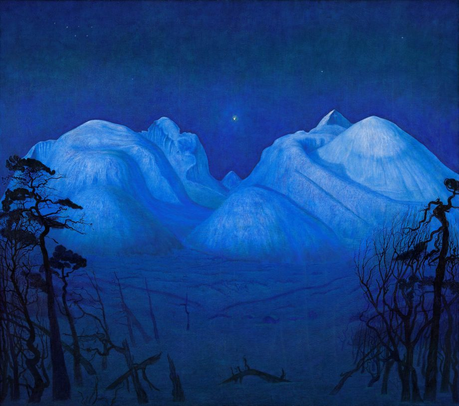 Vinternatt i Rondane (or Winter Night in the Mountains) by Spring Evening by Sommernatt by Harald Sohlberg, courtesy of the National Museum of Art and Design, Norway