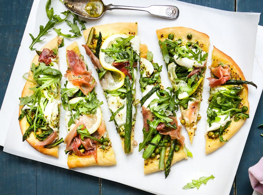 The perfect spring pizza, with asparagus, prosciutto and delicious burrata