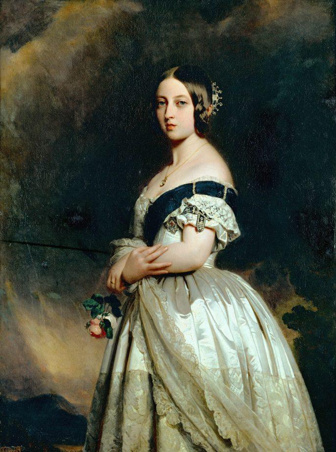 Franz Xaver Winterhalter's 1842 portrait of Queen Victoria of England. Musee National du Chateau, Versailles.