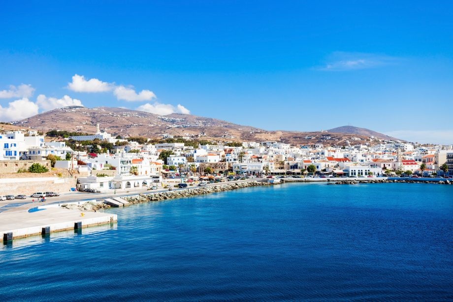 Tinos island aerial view. Tinos is a Greek island situated in the Aegean Sea, located in the Cyclades archipelago, Greece.
