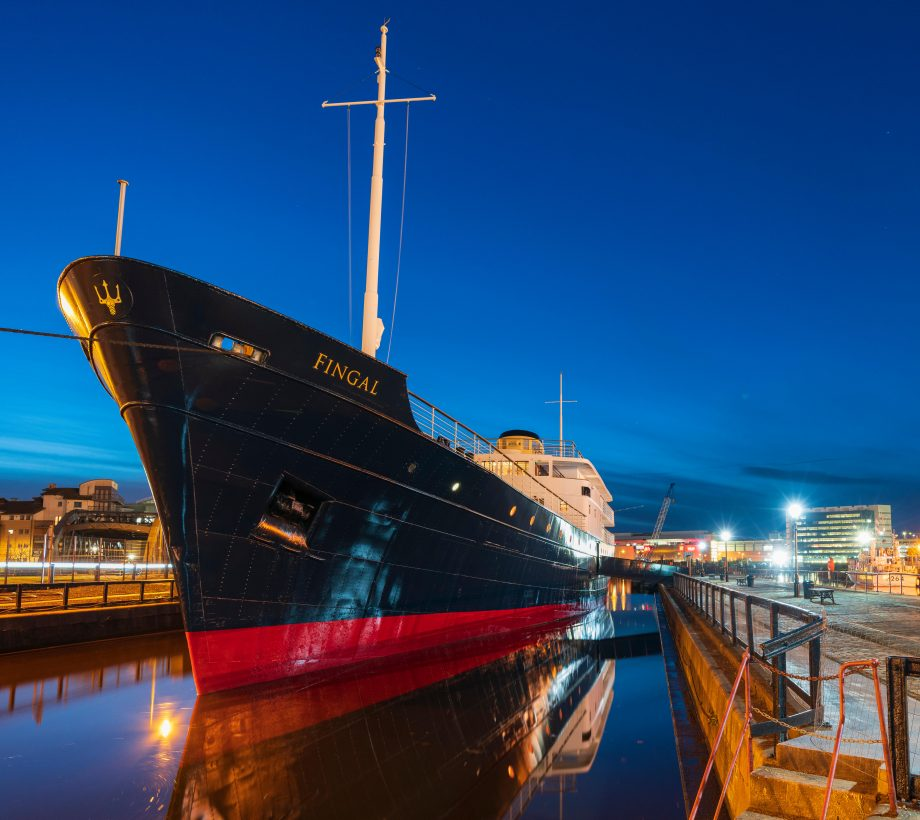 The Fingal floating hotel in Leith docks, Edinburgh