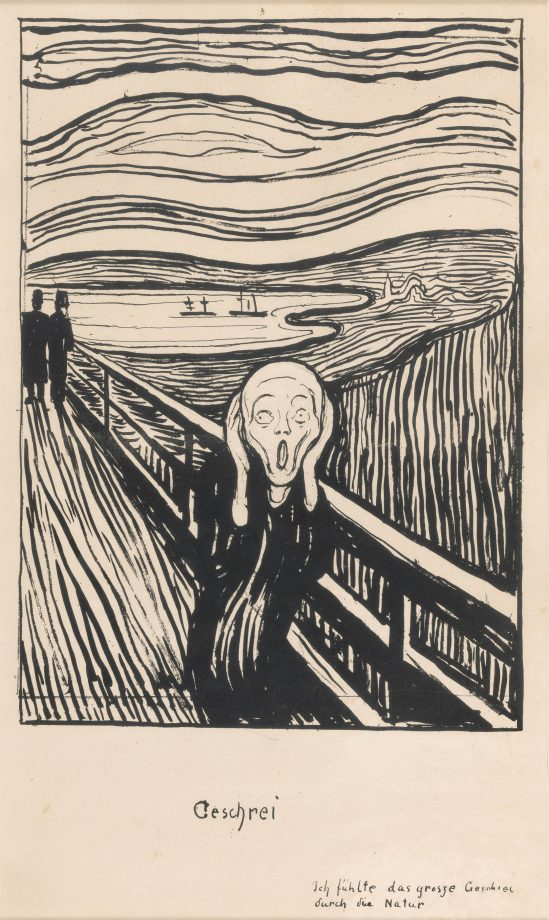 The black-and-white print of The Scream by Edvard Munch.