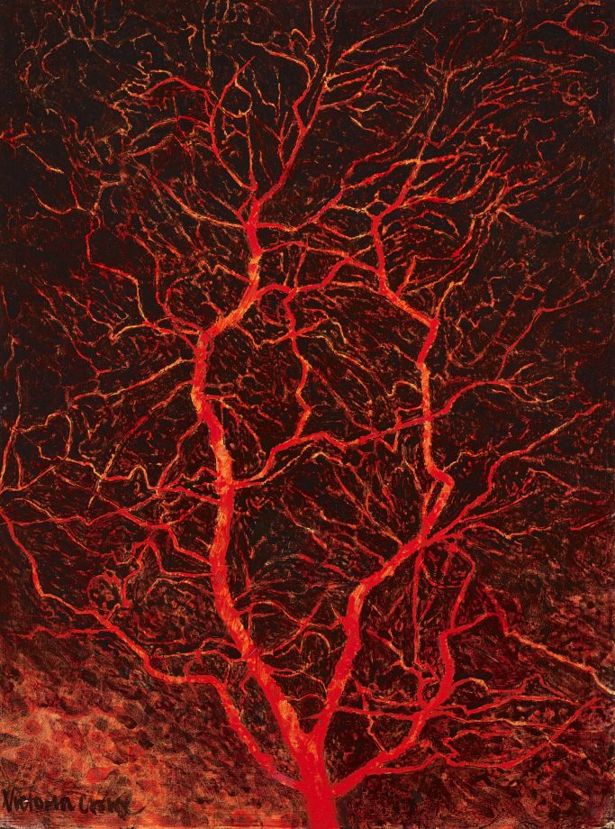 'Sonorous Tree' by Victoria Crowe (b. 1945) 12in by 9in, private collection.