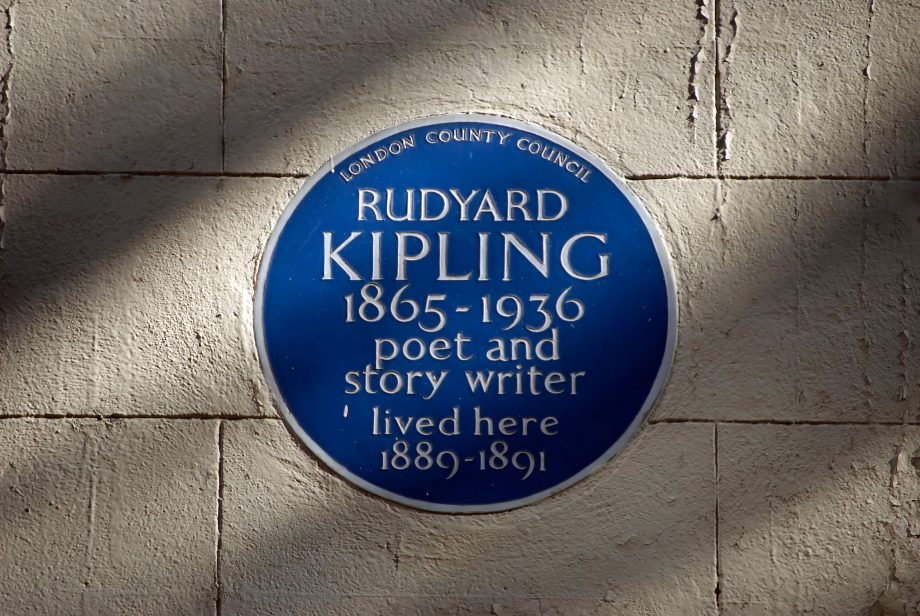 blue plaque marking a home of poet and story writer rudyard kipling, villiers street, london, england