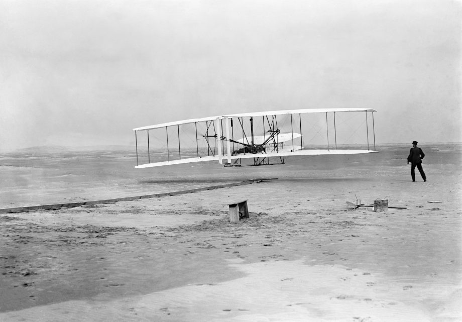 The Wright Flyer I. The Wright brothers are credited with the first powered, manned flight in history, which took place at Kill Devil Hills, Kitty Hawk, North Carolina on 17th December 1903. But were they actually beaten to it?