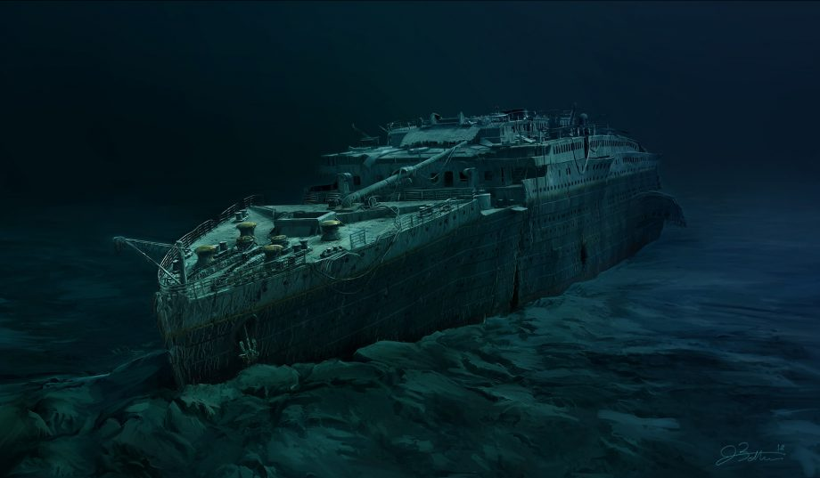 RMS Titanic at the bottom of the sea