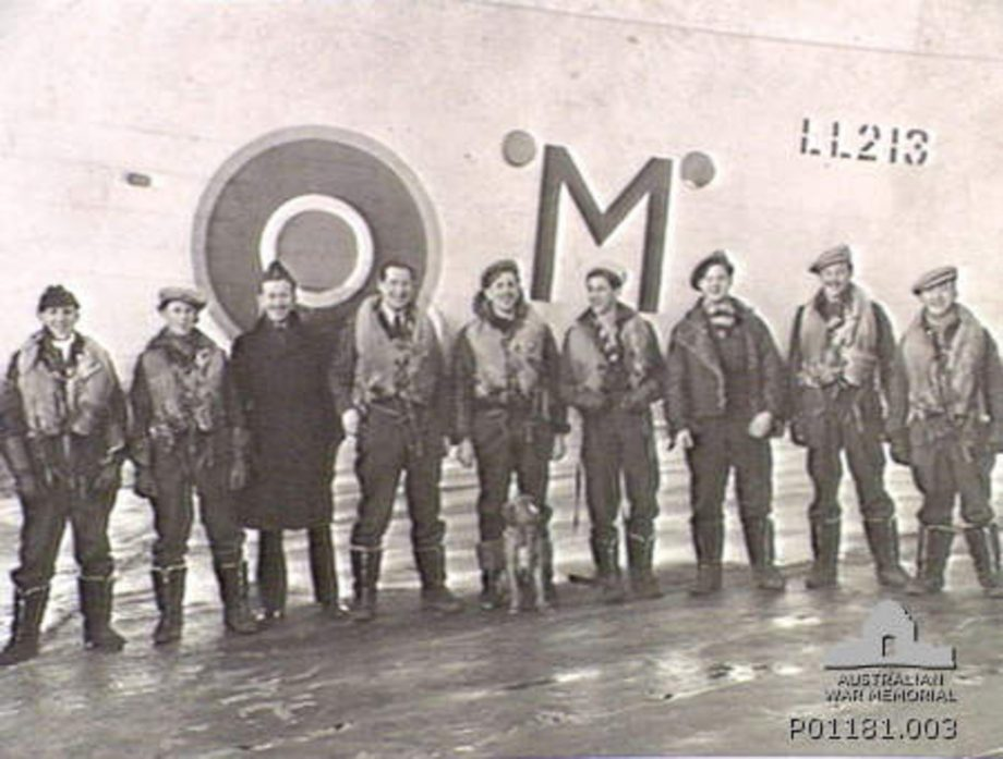 A Halifax bomber crew that was part of the RAF's 518 Squadron