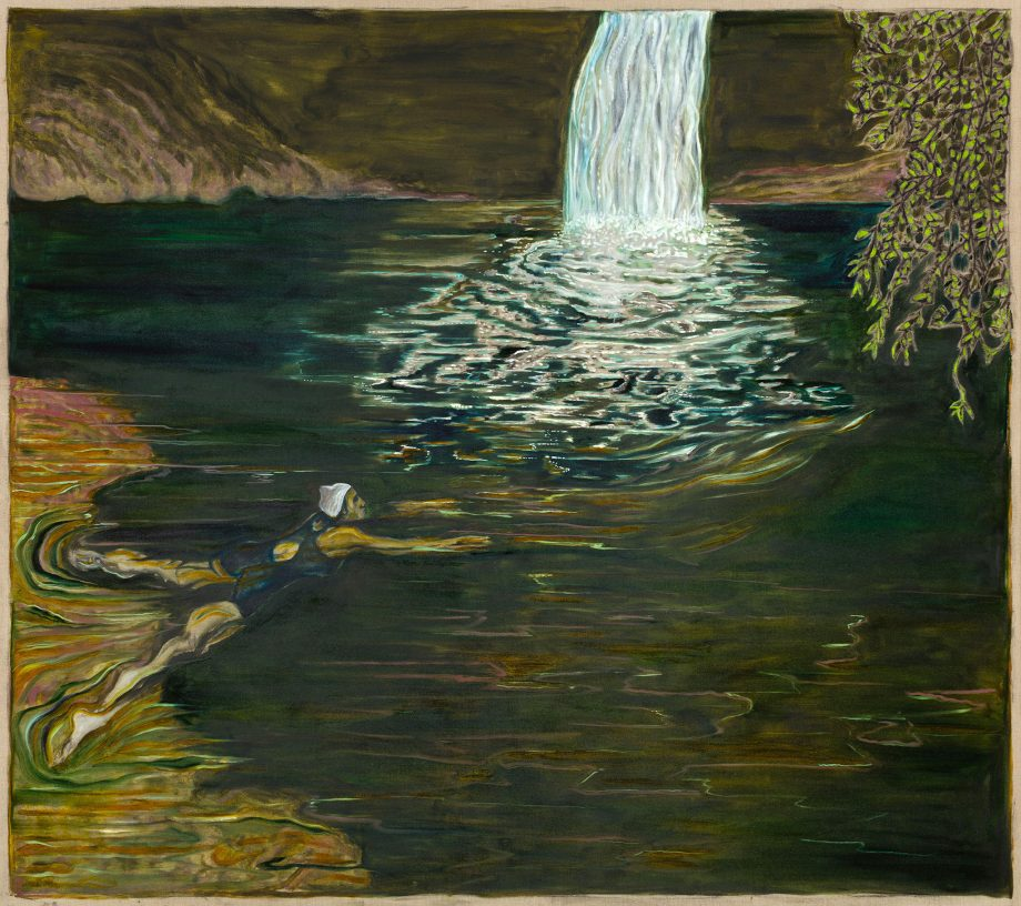 Billy Childish's 'swimmer and waterfall', 2018, oil and charcoal on linen, courtesy of the Carl Freedman Gallery, Margate.