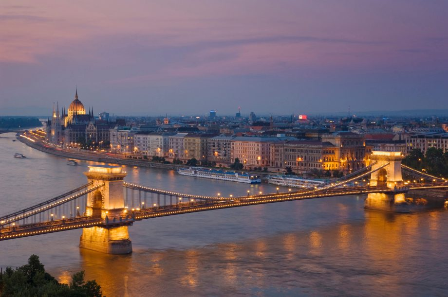Panorama of the Hungarian Parliament, and the Chain bridge (Szechenyi Lanchid), over the River Danube, Budapest, Hungary