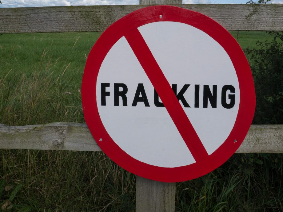 A 'No Fracking' sign put up by villagers in Lancashire