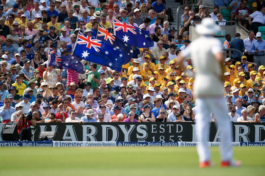 Australia fans get a rare chance to wave their flags during day two of the 5th Investec Ashes Test match between England and Australia at The Kia Oval on August 21, 2015