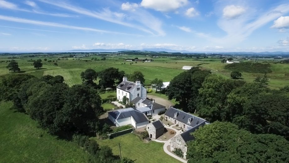 Aerial view of the House of Cragie in Ayrshire