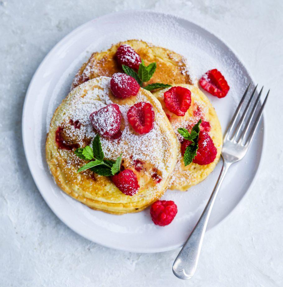 Raspberry soufflé pancakes