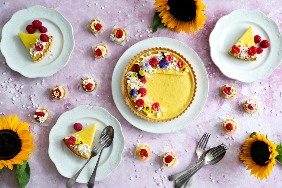 A beautifully-flavoured raspberry and mango tart, perfect for afternoon tea