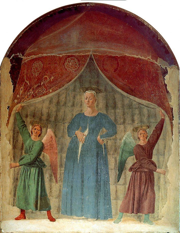 Madonna del Parto, painted around 1460 by Piero della Francesca (ca 1415-1492). 8½ft by 6½ft; Monterchi, Tuscany, Italy.