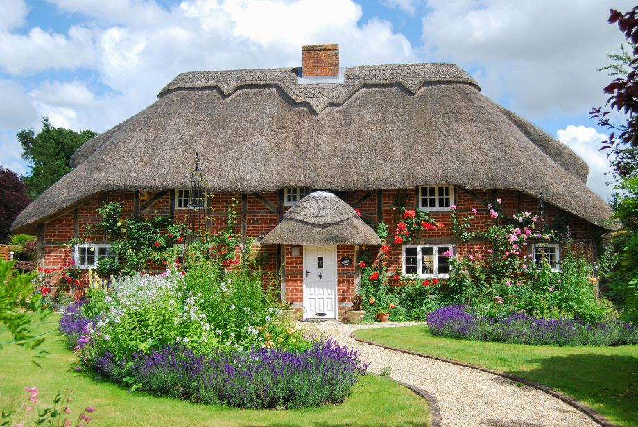 A thatched country cottage and garden at Itchen Stoke in Hampshire