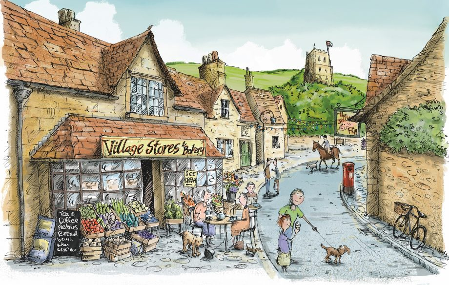 Village shop illustration