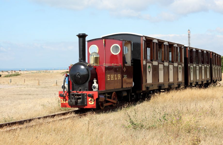 East Hayling Light Railway runs along the seafront at Hayling Island Hampshire