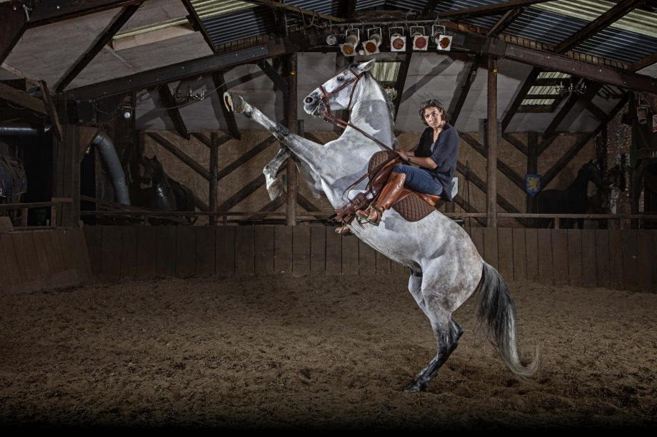 Horsemaster Camilla Naprous on Moses photographed at The Devilshorsemen stables in Mursley, Buckinghamshire. Photograph: Richard Cannon/Country Life PIcture Library