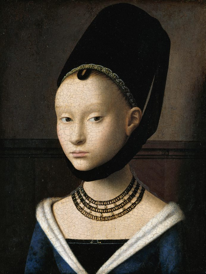 Petrus Christus' 'Portrait of a Young Girl'. Painted circa 1470; 11.5x9 inches; Gemaldgalerie, Berlin