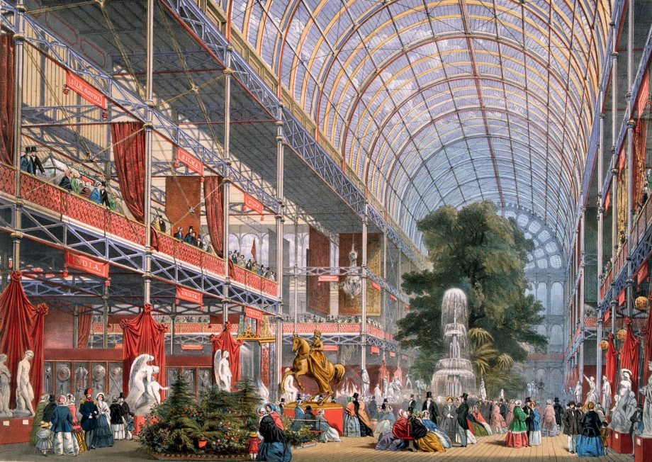 The Transept at the Great Exhibition in Crystal Palace, the glass and iron building designed by Joseph Paxton, at Hyde Park, London.