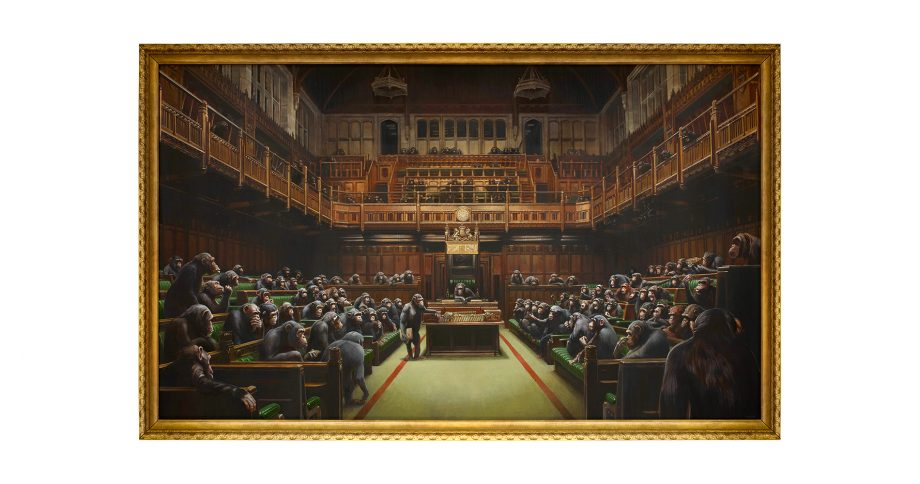 Banksy's 'Devolved Parliament' will be on show at Sotheby's before being auctioned off on October 3.