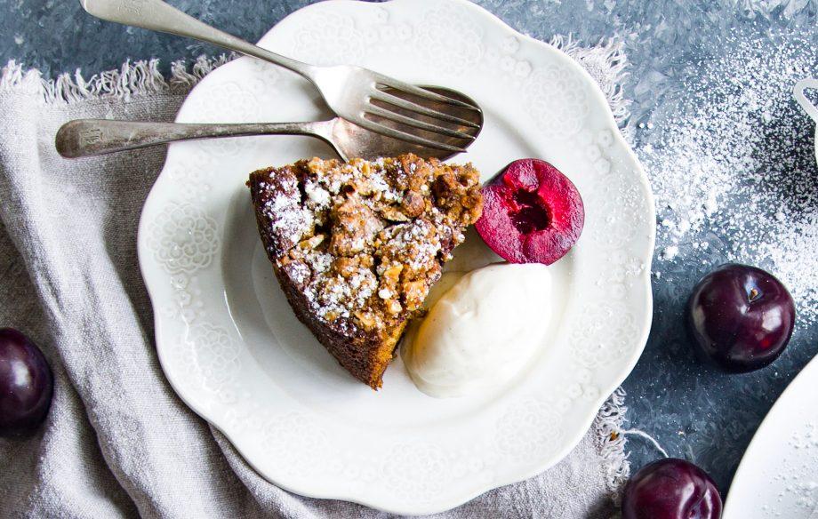Plum and ricotta crumble cake