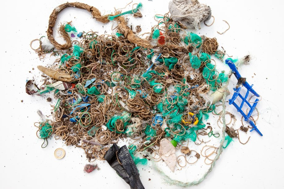 Elastic bands and fishing waste collected from Mullion Island. Copyright National Trust Seth Jackson
