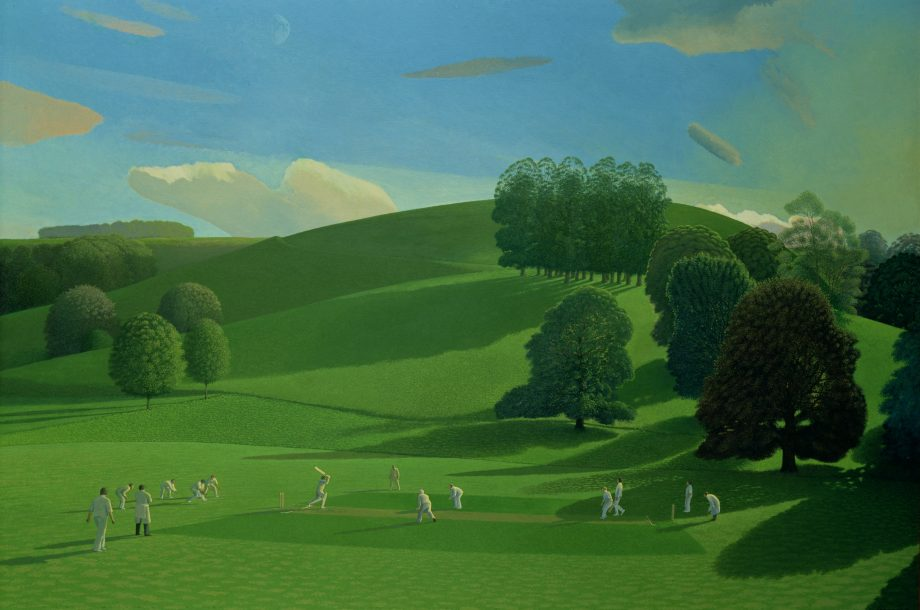 The Cricket Game, 1976, 37in by 55in, by David Inshaw (b. 1943), private collection