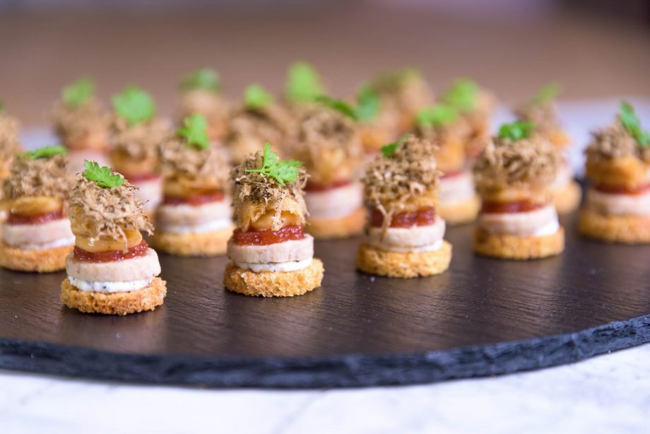 Caper & Berry's chicken, truffle and chervil, the runner-up canapés from the 2018 competition.