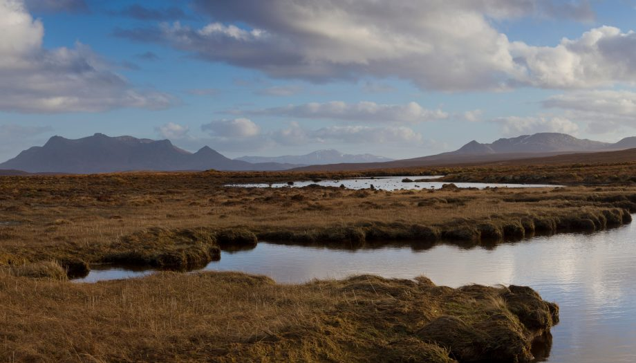 The Mhoine moorland with Ben Loyal and Ben Hope, Sutherland.