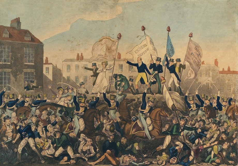 The Peterloo Massacre. The massacre took place on August 16, 1819 at St Peter's Field, Manchester, when the 15th Hussars, a cavalry regiment, charged with sabres drawn into an unarmed crowd who were demanding reform of parliamentary representation, killing 15 and wounding an estimated 500-plus. Engraving published by Richard Carlile, October 1, 1819.