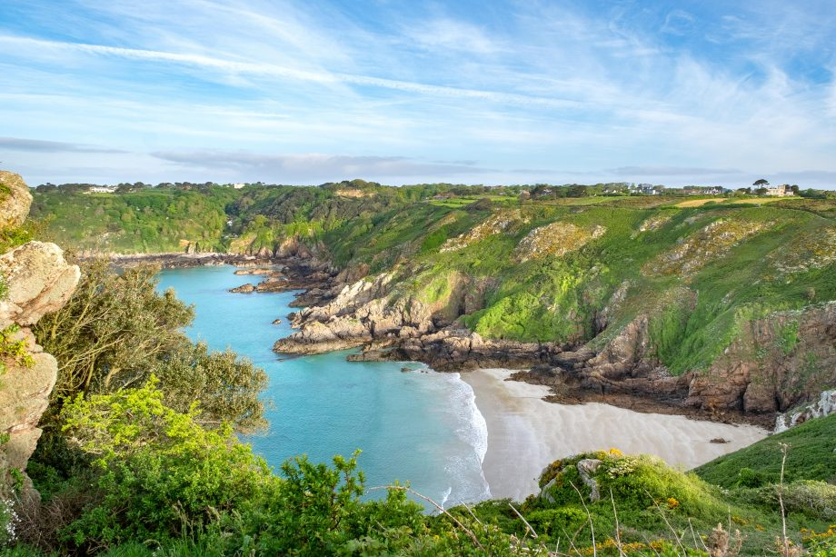 View over Petit Port Bay and the south coast cliffs of Guernsey.