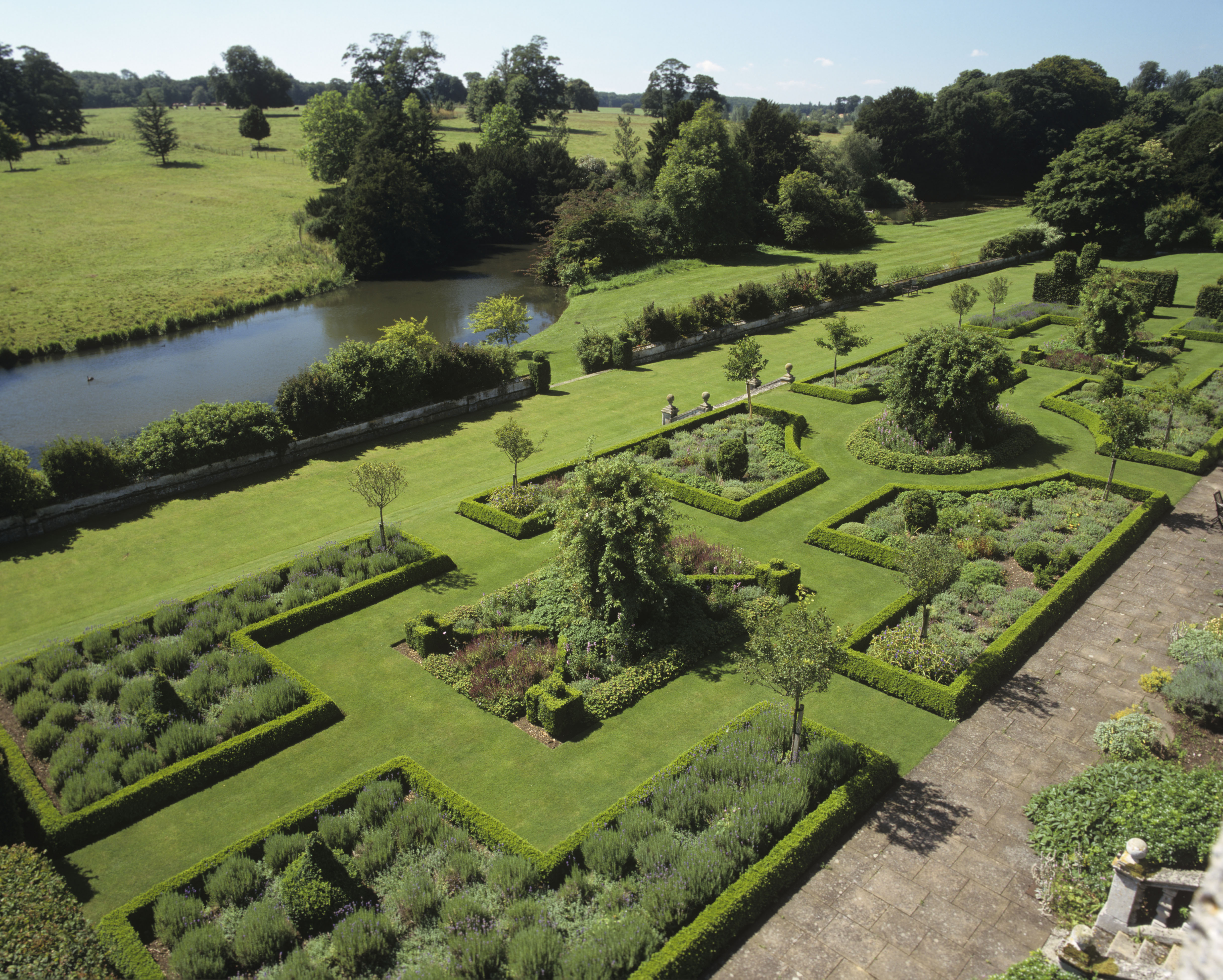 The south-front parterre at Deene Park.