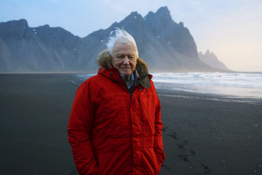Sir David Attenborough pictured during filming at Stokksnes beach in Iceland for Seven Worlds, One Planet.
