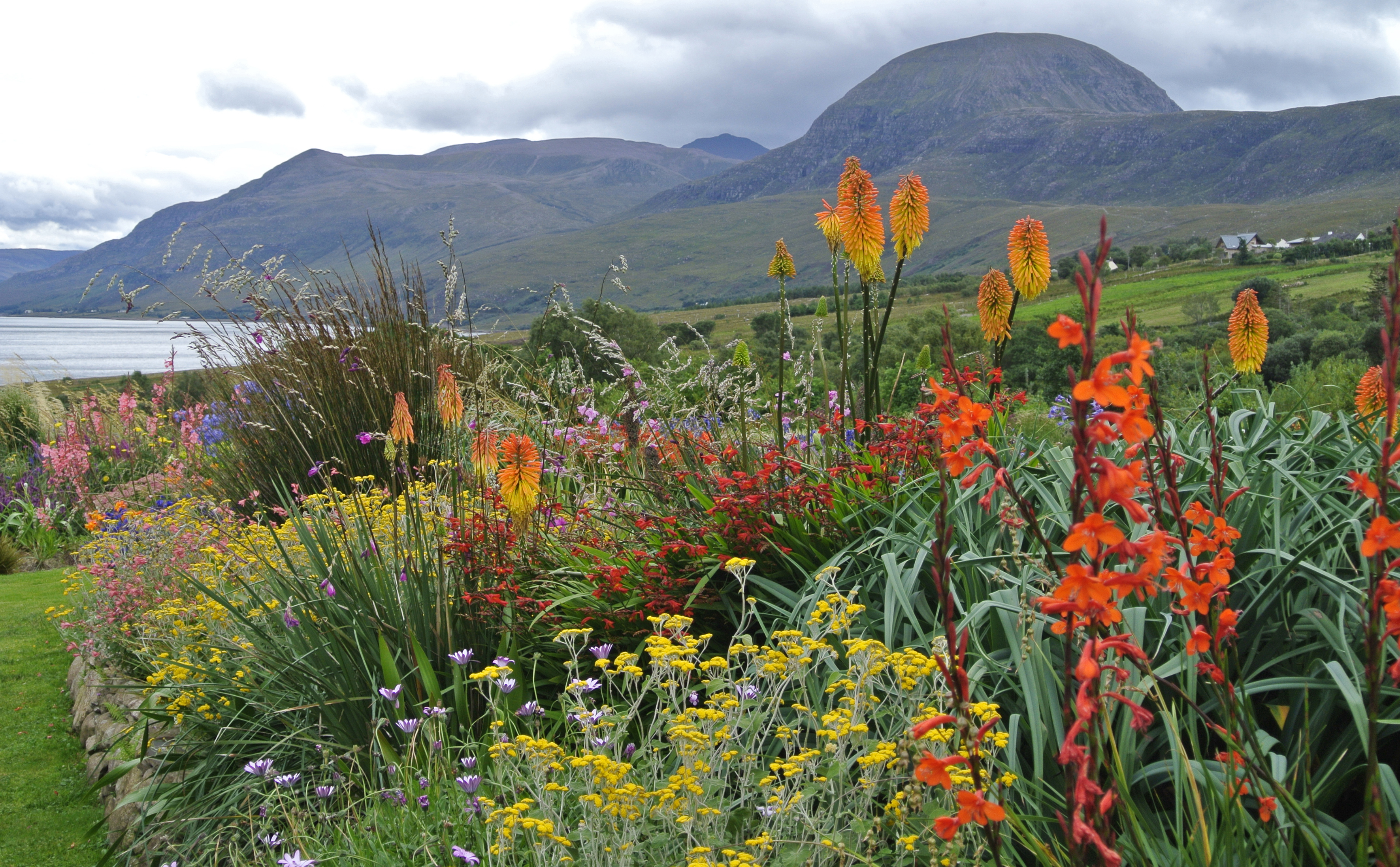 Close up of a section of the garden at 2, Durnamuck in Ross and Cromarty, Scotland with Little Loch Broom and the mountains in the background.