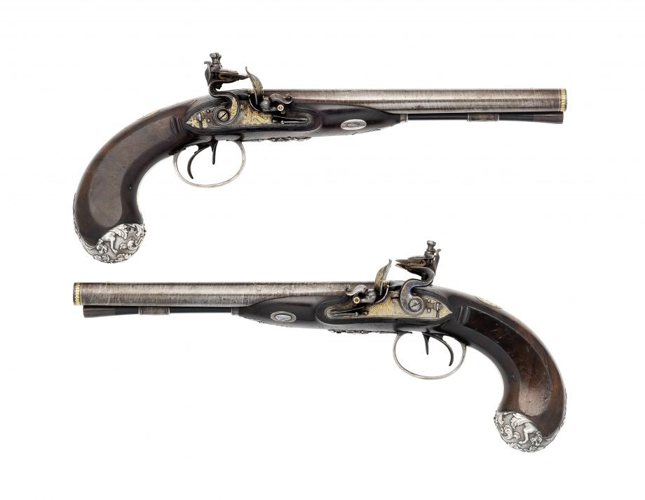 Pair Of Gold-Inlaid 28-Bore Flintlock Silver-Mounted D.B. Pistols