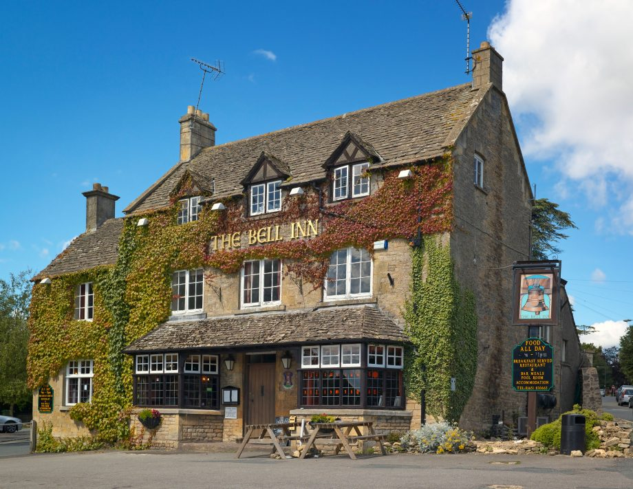Exterior view of the Bell Inn in Stow on the Wold.