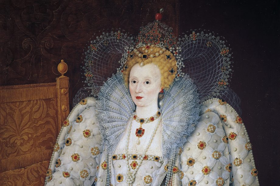 Portrait of Elizabeth I of England (Greenwich, 1533-London, 1603), Queen of England and Ireland. Painting attributed to the School of Marcus Gheeraerts the Younger, oil on canvas, 176 x 144 cm.