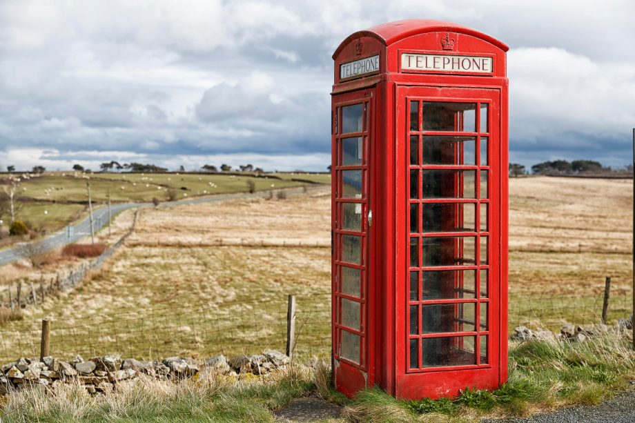 A British Telecom Telephone box, Thruscross. Harrogate, North Yorkshire, UK