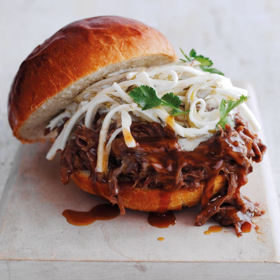 Jose Souto's smoked, slow-cooked pulled venison in sticky sauce, served up in a bun — wonderful comfort food.