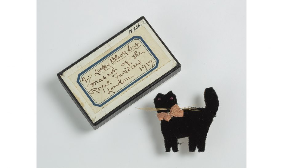 A lucky black cat that's part of the exhibition at Bristol Museum