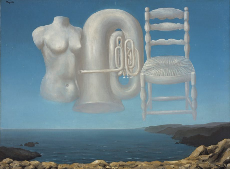 Rene Magritte, Le Temps Menaçant (Threatening Weather), 1929. Oil on canvas 54.00 x 73.00 cm (framed: 72.70 x 94.00 x 9.50 cm). National Galleries of Scotland. Purchased with the support of the Heritage Lottery Fund and the Art Fund 1995. © ADAGP, Paris and DACS, London 2018. Photographer: Antonia Reeve.