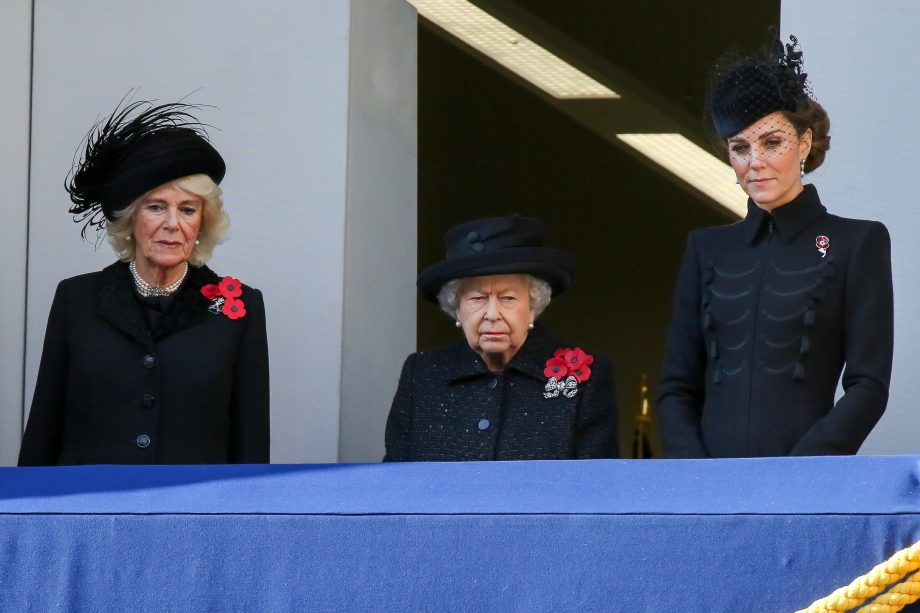Camilla, Duchess of Cornwall, Queen Elizabeth II and Catherine, Duchess of Cambridge attend the annual Remembrance Sunday memorial at The Cenotaph, in Whitehall, London