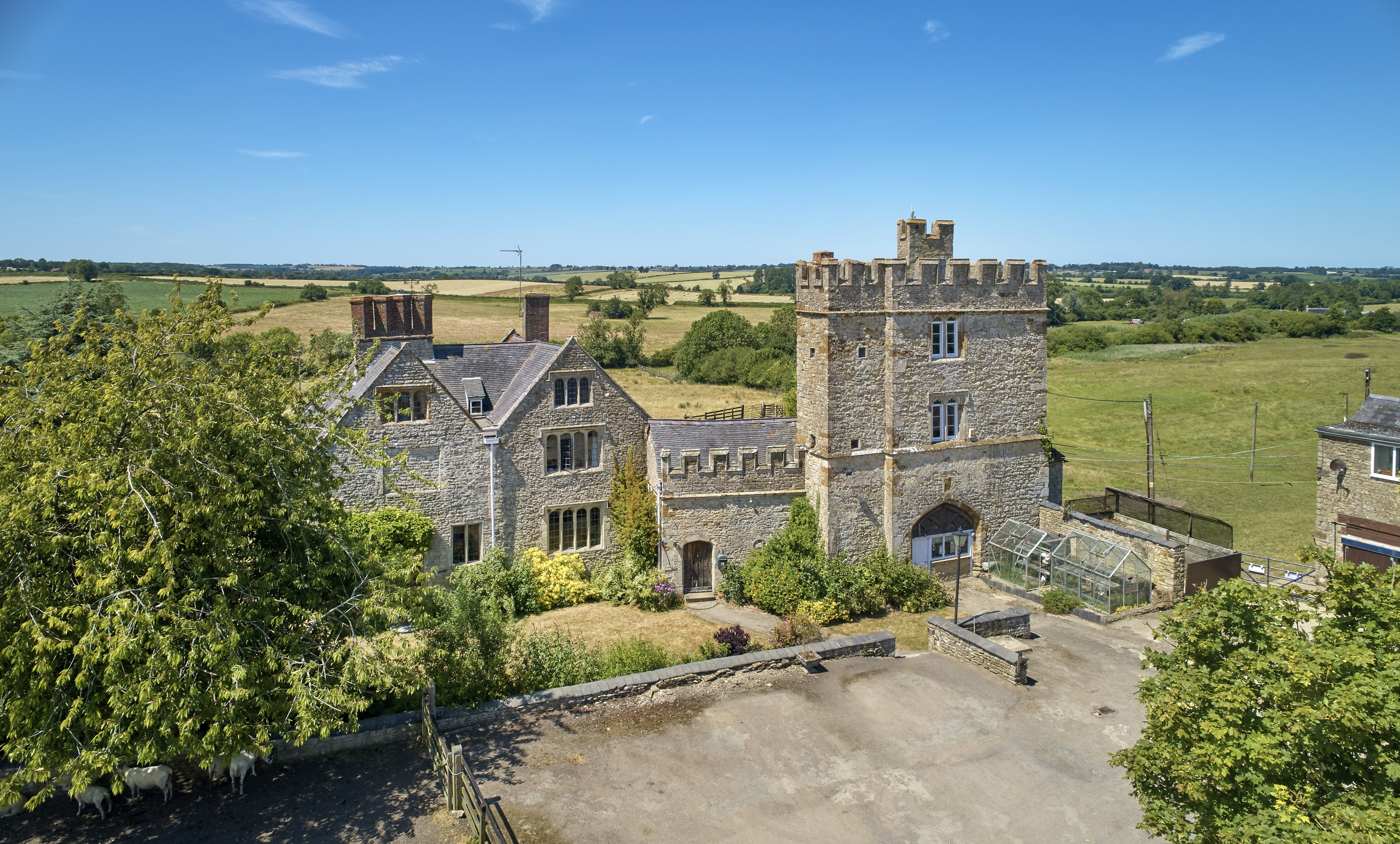 A castle in the 'new Cotswolds' for sale with stone spiral staircases, 30 acres and a castellated roof terrace