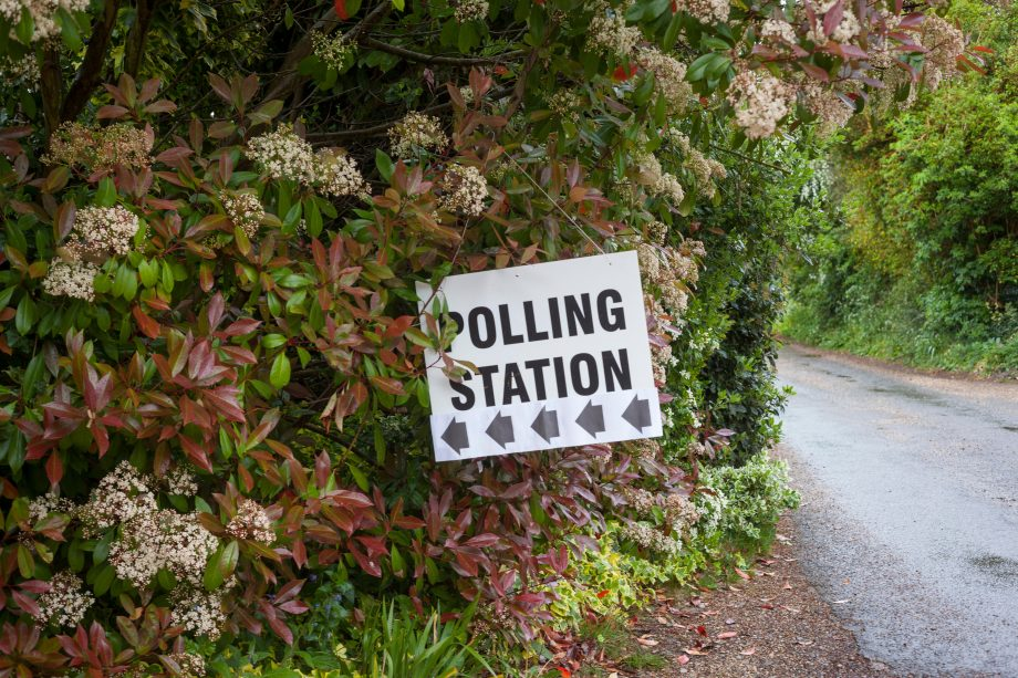 A Polling Station sign hanging in a shrub in South Stoke, Oxfordshire