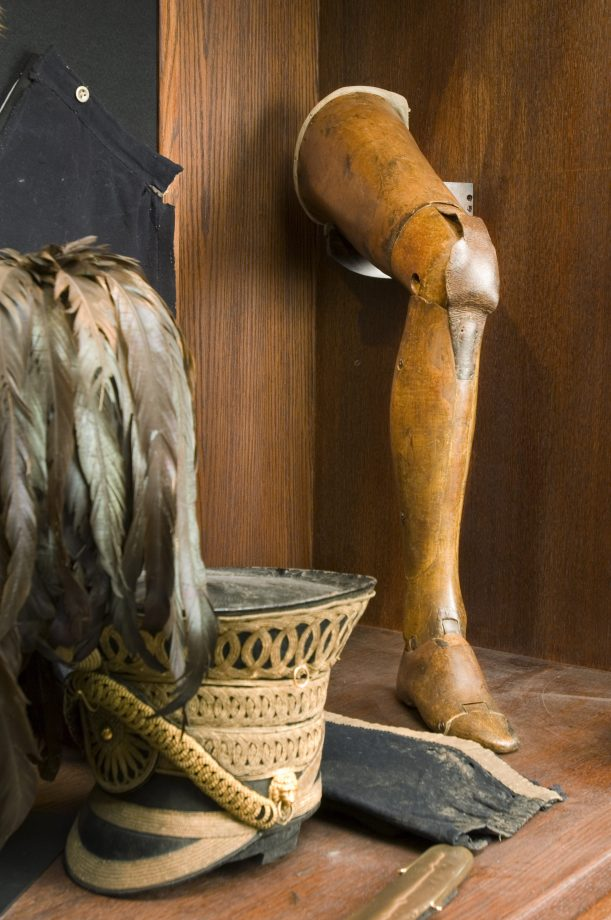 The Anglesey Leg, the world's first articulated wooden leg, in the Cavalry Museum at Plas Newydd, on the Isle of Anglesey, Wales. The 1st Marquess of Anglesey lost his leg in 1815 at the Battle of Waterloo and this artificial limb was designed by James Potts of Northumberland.